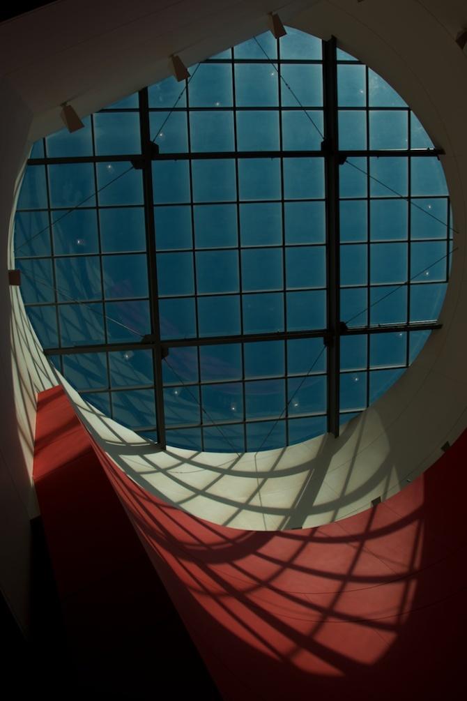 Looking up at the Georgia Aquarium's atrium