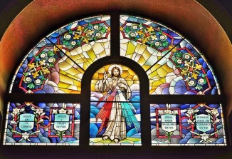 Stained glass window above the altar of St Pope St John XIII in Miramar, Florida