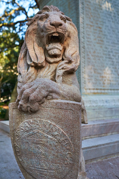 The roar of the lion in Chippewa Square, Savannah, Georgia